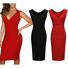 Petite V Neck Sleeveless Dresses without Pattern for Women