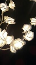 White Lighted SILK ROSE Garland 6' Elegant 48 Lights FREE SHIPPING