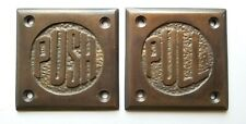 "Set Art Deco Door PULL and PUSH signs Unique Antique Style solid brass 2.5"" #F11"