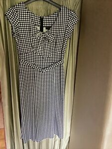 Stop Staring Black & White Honuds Tooth Pattern Wiggle Dress Size XL Worn Once