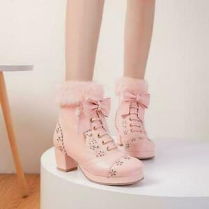Sweet Womens Lolita bowknot winter Warm Fur Trim Ankle Boots Chunky Heel Shoes