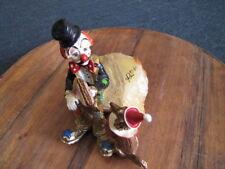Vintage Ron Lee Clown Figure with Dog eating Hotdog on Marble Base