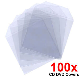 100 CD DVD Blu-ray Disc Clear Plastic Sleeves Case Covers Wallet Bags 80 Micron
