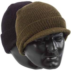 US Army Style Jeep Cap 100% Wool Warm Military Peak Hat - One Size Fits All