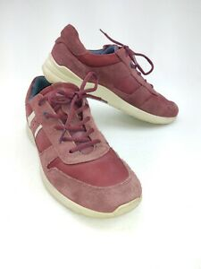 Ecco Red Leather Size 42 US 8 Casual Lace up Sneaker Shoes w Round Toe