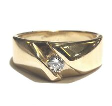 14k yellow gold .29ct SI2 I round diamond solitaire mens ring 8.9g gents