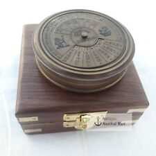 Antique Brass Calendar Compass With Box Vintage Marine Collectible Item