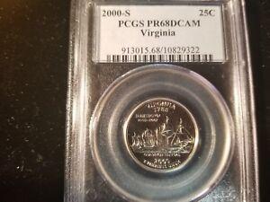 2000-S 25¢ VIRGINIA QUARTER PCGS PR68DCAM 913015.68/10829322