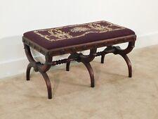 Antique Century Furniture Co 6-Legged Ottoman / Footstool Mahogany Needlepoint