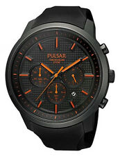 Pulsar Men's Chronograph 100m Black Stainless Steel & Polyuretane Watch PT3207