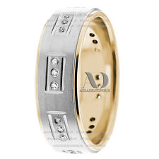 10K Solid Multi Tone Diamond Wedding Ring 7mm Wide 0.36Ctw For His & Hers Band