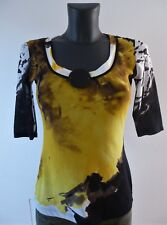 Blacky Dress Berlin Shirt Bluse transparent Gr 36 schwarz gelb Kurzarm - Luxus