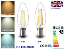 B15 LED Candle Bulb Dimmable 4W 6W WARM PURE COOL White Filament Retro Lamp