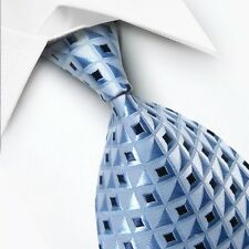 GiFTS FOR MEN Classic Mens Box Square Check Silk Necktie Tie Light Blue Black