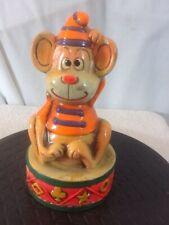 Vtg  Chalkware CIRCUS MONKEY Sitting on a Drum Orange Shirt & Hat Bank pre-owned