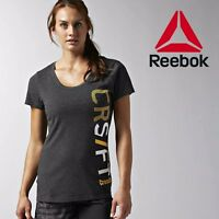 Reebok Crossfit Womens Graphic Tee Top Grey Work Out Fitness Gym Free Posted