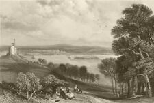 Plymouth from across Plymouth Sound, Devon. FINDEN 1842 old antique print