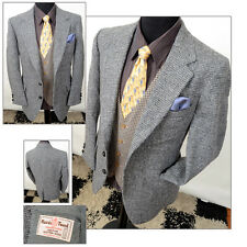 Vtg Mens Harris Tweed Grey Twill Country Wedding Hacking Jacket Blazer 40R