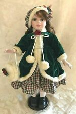 """Porcelain Doll in Fur Trim Coat Winter Outfit, Hat & Handbag+Doll Stand 19"""" Tall"""