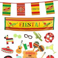Mexican Party Room Decoration Set Long Banner 10m Bunting & 29pc Photo Prop Kit