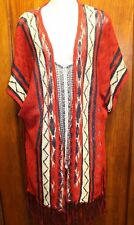 MAURICES Red Navy Blue Geometric Fringed Cardigan Sweater Shirt XL