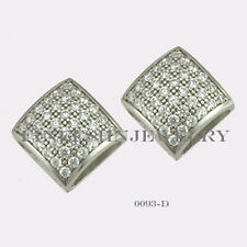 Sterling Silver 925 Square Stud Screwback Earrings with Clear CZ 7.5mm #0093D