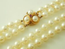 "Cultured Pearl double strand necklace & bracelet 14ct gold ruby clasp 17"" long"