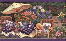 Cheerful Garden Patio Scene Wallpaper Border