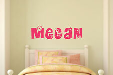 Personalized Name Flower Wall Decal Girls Room