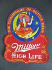 """ANTIQUE 50's MILLER HIGH LIFE BEER """" LADY TOAST IN MOTION """" BACK PATCH BAR SIGN"""