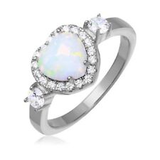 Neues AngebotSterling Silber Damen Halo Ring W / Herzförmig Opal & Cz