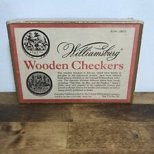 Vintage Box of Williamsburg WoodenCheckers Draughts Aesop Fables Illustrated