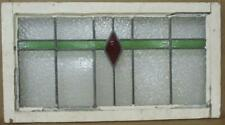 "MIDSIZE OLD ENGLISH LEADED STAINED GLASS WINDOW Simple Diamond 29.5"" x 16"""