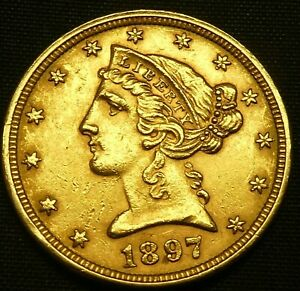 1897 $5 Gold Liberty Half Eagle Head US Coin