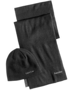 Calvin Klein Reversible Hat And Scarf Set Black Grey Mens OSFA New