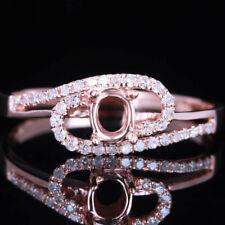 4mm Round Setting Natural Diamond 14K Rose Gold Elegant Engagement Wedding Ring