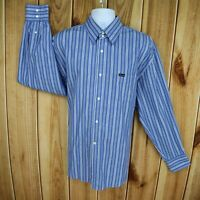 Faconnable Dress Shirt Mens Size 2XL Blue Striped 100% Cotton Long Sleeve SHARP!