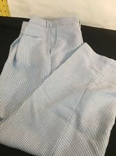 Hipster Seersucker Mens Pants Blue Striped 37WX29.5 Mid Century Blast  From Past