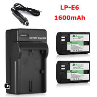 Battery For Canon LP-E6 LPE6 EOS 7D 70D 6D 60D 5D Mark II III Camera + Charger
