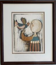 "Rodo Boulanger: Original Lithograph ""Bird in Hand"", plate signed with COA"