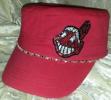 Cleveland Indians  Womens Rhinestone Bling Cadet Cap Hat ~NEW~