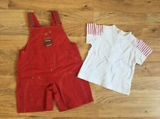 Berlingot Baby Boy's Cotton Red Dungaree & White T-shirt Set Age 9 Months NWOT