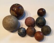 """Antique 9 Clay Marbles Browns Blue 2-1"""", 7 Small 1930's Era"""