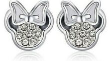 Disney Jewellery, Minnie Mouse Silver Cubic Zirconia Stud Earrings & Gift Box