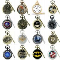 Fashion Quartz Movement Vintage Antique Pocket Watch Necklace Pendant Chain Men