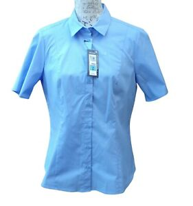 Marks and Spencer Shirt  Blouse Size 14 Blue Stretch Cotton NWT Short Sleeves
