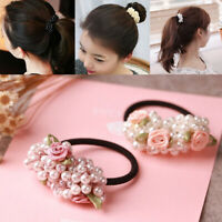Accessories Fashion Women Girls Pearls Hair Rope Flower Beads Hair Decoration