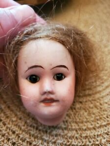 """Antique 2 and 1/2"""" French Bisque SFBJ 60 Fixer Upper Doll Head Body Teeth Eyes"""