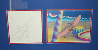 Disney 1970's Dumbo Original Production Cel with Matching Drawing