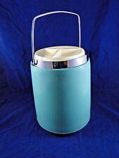 MID CENTURY ATOMIC MODERN Turquoise/Aqua Chrome ICE BUCKET Vntg Bar Retro Decor